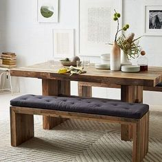 Best 15 Narrow Dining Tables for Small Spaces (Gallery Ideas - Dining Room Dinning Room Bench, Kitchen Table Bench, Dining Table With Bench, Modern Dining Table, Dining Table Chairs, Dining Room Design, Dining Set, Cheap Dining Tables, Wood Table