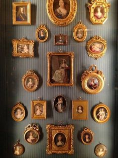 haute boheme - collection of gilded frames, miniature portraits Design Set, Molduras Vintage, Gallery Wall Frames, Gallery Walls, Miniature Portraits, Wall Decor, Room Decor, Frames Decor, Hanging Pictures