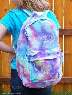 How to Tie Dye a Backpack Tie Dye Backpacks, Cool Backpacks, Diy Tie Dye Backpack, Cricut Tutorials, Cricut Ideas, Summer Dress Patterns, Diy Monogram, How To Tie Dye, Scrap Material