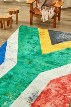 Flag Swag: For the patriot at heart, this is a gently worn, distressed interpretation of ou. Small Wooden Stool, Wooden Stools, Mohair Blanket, Rug Making, Patriots, South Africa, Swag, Decor Ideas, Rugs