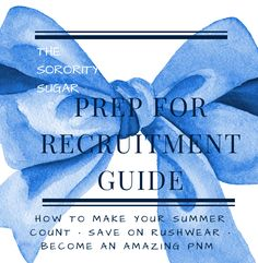 "NEW Bite-Size Booklet #2 in the sorority sugar SWEET SHOP!! Summer is THE time for PNMs to prepare for recruitment and sorority sugar has created a how-to handbook especially focused on summertime prep. ""The Sorority Sugar Prep For Recruitment Guide"" is filled with valuable pre-recruitment advice that will help you polish your presentation inside and out. Download it NOW! http://sororitysugarhq.com/sweet-shop/"