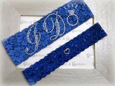 Wedding Garter Set - ROYAL BLUE Bridal Garter with SILVER Rhinestone I Do Show Garter & Rhinestone Heart Toss Garter via Etsy