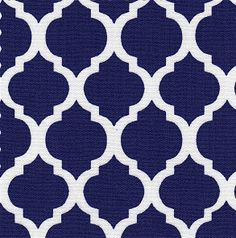 Navy and White Quatrefoil Fabric Finders 1421 60W 100% Cotton 1 yd also know as Moroccan Trellis or Lattice