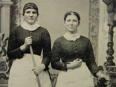 """Antique 2 Maids in Uniform Broom Feather Duster Tintype Photograph Image 2"""" x 3"""" 