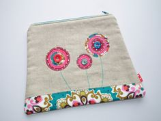 Pretty 'Lollipop flowers zip pouch' by The Lemon Pony on Folksy.