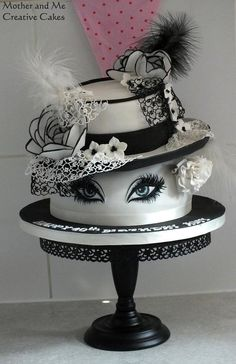 Hats and Lashes Cake by Mother and Me Creative Cakes (Creative Baking Awesome) Pretty Cakes, Cute Cakes, Beautiful Cakes, Amazing Cakes, Unique Cakes, Creative Cakes, Fondant Cakes, Cupcake Cakes, Hat Cake