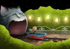 Mauro Falcioni ~ The Paper-Cat Illustrations || Conosci te stesso ~ «C'è luce là dentro?»