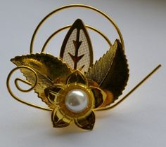 60s Faux Pearl and Gold Tone Brooch by VeryVintageClothing on Etsy, £10.00