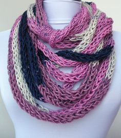 This is my new design.  Multiple cords of knit yarn in different colors and size.    You can leave scarf long or wrap it around your neck, for warmth in the chilly mornings and evenings.  Is it a scarf or a necklace???  A wonderful accessories for any outfit.  Very soft and lightweight.    Made in a pet-free and non-smoke home.    Hand wash, hang to dry .    Yarn: 65% cashmere, 35% bamboo    Like this item? More here:  http://www.etsy.com/shop/DreamList?section_id=105...