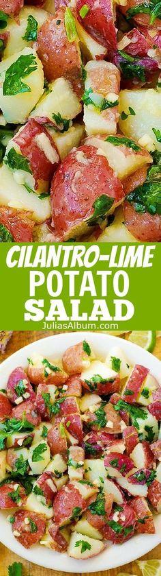 Cilantro Lime Potato Salad: olive oil, freshly squeezed lime juice, minced garlic, chopped cilantro. Healthy, gluten free recipe. (Whole 30 Recipes Crockpot)