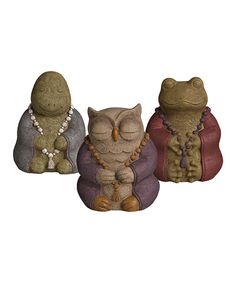 Cement Animal Buddha Figurine Set #zulily #zulilyfinds