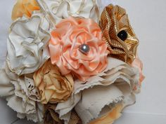 Fabric flower wedding bouquet! made by us!