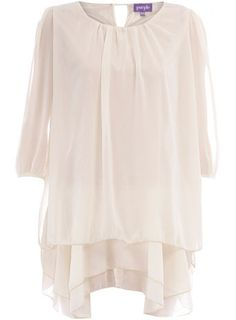 Cream chiffon tunic dress