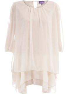 Cream chiffon tunic dress
