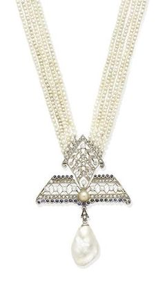 A NATURAL PEARL, SEED PEARL AND DIAMOND PENDANT NECKLACE Sold for £ 3,750 (US$ 4,973) inc. premium JEWELLERY. 11 Jul 2018