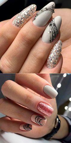 Bio Gel Nails, Diy Nails Manicure, Gel Nail Art, Coffin Nails Glitter, Acrylic Nails, Nail Drawing, Maroon Nails, Gel Nagel Design, Nail Art Videos