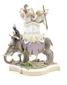 A Meissen group, soldiers atop an elephant, 19th century.
