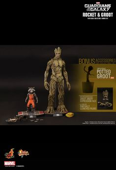 Hot Toys Rocket & Groot with Potted Groot