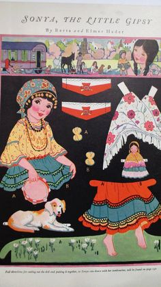 Sonya, The Little Gypsy Paper Doll 1925 Paper Toys, Paper Crafts, Paper Art, Paper Doll Costume, Vintage Playmates, Children's Picture Books, Vintage Paper Dolls, Retro Toys, Collector Dolls
