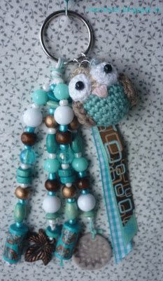 Marmarel - crochet owl keychain in aqua/brown