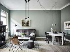 If you want a Scandinavian living room design, there are some things that you should consider and implement for this interior style. Wood as a material has an important role as well as light colors, because they give the living… Continue Reading → Living Room Grey, Living Room Interior, Home Interior Design, Living Room Decor, Nordic Interior, Apartment Interior, Dining Room, Apartment Entrance, Green Apartment