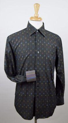 Robert Talbot Carmel Shirt Men's Size Medium Flip Cuff Embroidered Geometric  #RobertTalbott #ButtonFront