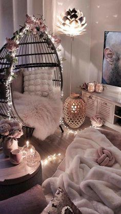 Cute Bedroom Decor, Bedroom Decor For Teen Girls, Girl Bedroom Designs, Teen Room Decor, Stylish Bedroom, Room Ideas Bedroom, Bedroom Stuff, Cool Bedroom Ideas, Small Girls Bedrooms