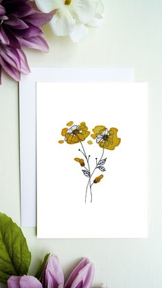 High quality printed flowers greeting card with blank inside for your greetings, congratulations and more. You will receive a white envelope for the greeting card. Bouqets, White Envelopes, Line Drawing, Flower Prints, Watercolor Flowers, Congratulations, Creativity, Greeting Cards, Etsy