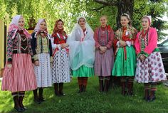 FolkCostume&Embroidery: Costume and Embroidery of Wymysorys or Wilamowice, Poland. Folk Clothing, Historical Clothing, Green Apron, Types Of Skirts, Drawing Clothes, Married Woman, Character Costumes, White Embroidery, Folk Costume