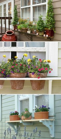 Add wooden shelf to the underneath of windows and fill it with potted plants.