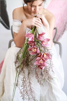 orchid wedding bouquet #orchids http://www.weddingchicks.com/2013/12/16/wedding-in-northern-spain/