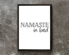 Namaste In Bed Print Funny Bedroom Art Namaste In Bed