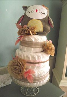 Owl Baby Shower Diaper Cake (brown flowers)