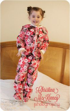 Classic Fleece Footed Pajamas sewing pattern by Peek-a-Boo Pattern Shop | The best sewing patterns for women, girls, toys and more. Go To Pa...