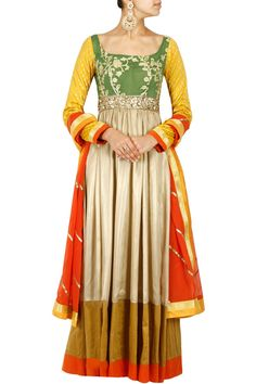 Gold and olive green embroidered anarkali set available only at Pernia's Pop-Up Shop.
