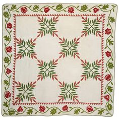 Laurel Leaf Quilt | From a unique collection of antique and modern quilts at https://www.1stdibs.com/furniture/folk-art/quilts/