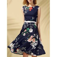Vintage Round Neck Sleeveless Floral Print Slimming Women's Dress | TwinkleDeals.com