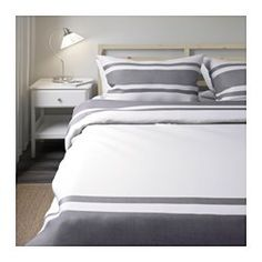 IKEA - BJÖRNLOKA, Duvet cover and pillowcase(s), Full/Queen (Double/Queen), , Yarn-dyed; the yarn is dyed before weaving; gives the bedlinens a soft feel.Extra soft and durable quality since the bedlinen is densely woven from fine yarn.Decorative buttons keep the comforter in place.