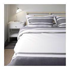 BJÖRNLOKA Duvet cover and pillowcase(s), black white, black - white/black - Full/Queen (Double/Queen) - IKEA