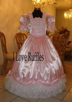 everything ruffles, sissy dress, Princess Outfits, Girly Outfits, Pretty Outfits, Satin Gown, Satin Dresses, Dance Dresses, Southern Belle Dress, Lace Ball Gowns, Beautiful Wedding Gowns