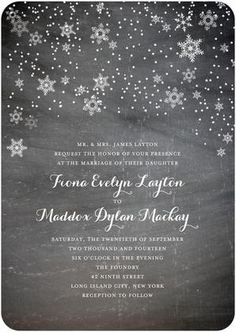 Beautiful Winter Themed Invites. We LOVE winter Weddings <3