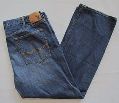American Eagle Loose Fit Jeans 42 34 Mens Medium Blue Relaxed Straight Leg Denim #AmericanEagleOutfitters #BaggyLoose
