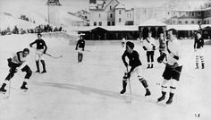 """""""Switzerland - Oxford University, a picture taken in One year later, this British team won the first edition of the Spengler Cup. Olympic Hockey, Olympic Games, Hockey Games, Ice Hockey, Hockey Players, Oxford, Lake Placid Olympics, Hockey Sweater, Art"""
