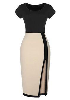 Color-Block Bodycon Slit Dress   Lookbook Store