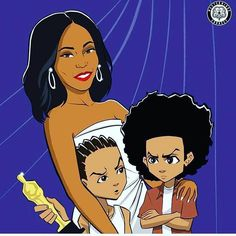 Boondocks heads know that Riley is basically still partying while Huey is resenting the award. Mrs. King was dope in #PoeticJustice and Enemy of the State  too.   @njgoodfella #goodfellagames   #Reposted from @cthagod -  Yo @mastermindsconnect this is very fresh . The culturally clueless white people who run the Oscars finally caught up but black people been knew @iamreginaking was the GOAT since 227 in 85  and when she effortlessly slept with her head in  #PimplesOnForehead Toon Cartoon, Cartoon Art, Cartoon Images, Pimples On Forehead, Pimples Under The Skin, Vibe Magazine, Dope Cartoons, Black Love Art, Boondocks