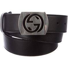 Pre-owned Gucci Interlocking G Leather Belt (415 CAD) ❤ liked on Polyvore featuring men's fashion, men's accessories, men's belts, black, mens belts, mens leather belts and gucci mens belt