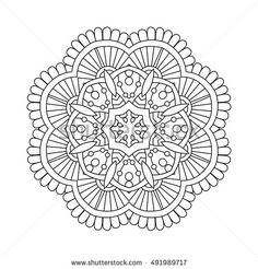 Abstract indian floral mandala, simple vector illustration