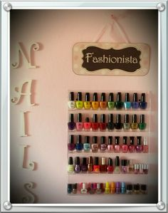 Cute nail polish rack for those who love manicures.