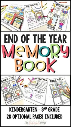 Simple & easy end of year memory book for K-3rd grade! Perfect way to end the school year and reminisce about the memories made. 28 optional pages are included to make this memory book as thick...or thin...as you wish!