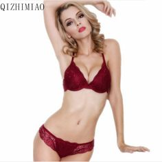ca83dc2ed1dda New 2016 cotton push up bra Absolute luxury lace sexy red wine under the  thin thick
